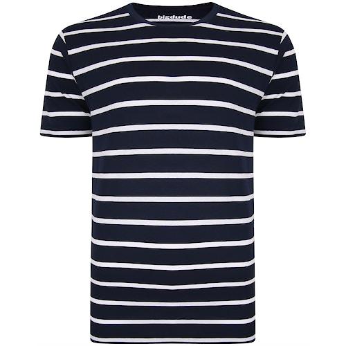 Bigdude Striped T-Shirt Navy/White