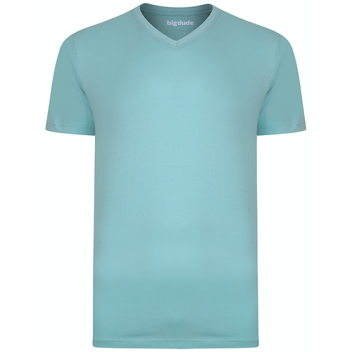 Bigdude Plain V-Neck T-Shirt Turquoise Tall