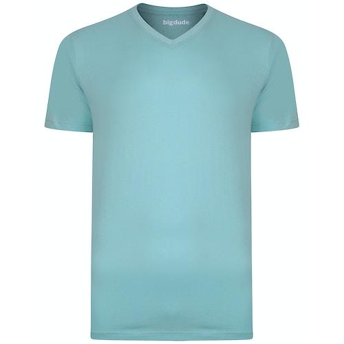 Bigdude Plain V-Neck T-Shirt Turquoise