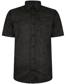 Bigdude Short Sleeve Cotton Woven Shirt Black/Brown