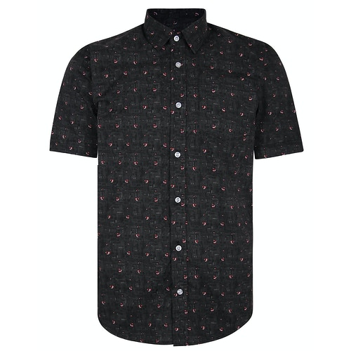 Bigdude Short Sleeve Cotton Woven Bird Shirt Black/Red