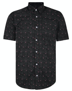 Bigdude Short Sleeve Cotton Woven Bird Shirt Black/Red Tall