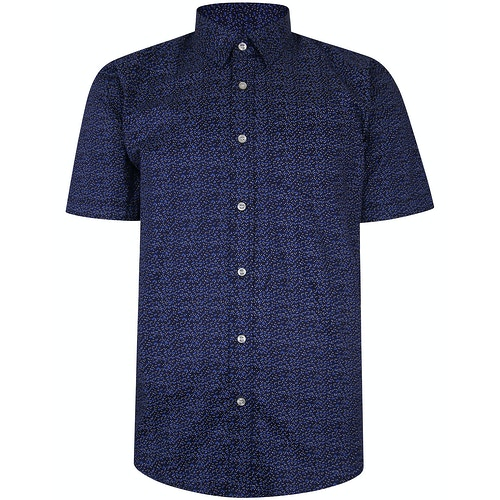 Bigdude Kurzarm Baumwollhemd Punktemuster Blau