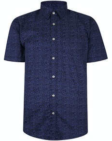 Bigdude Short Sleeve Cotton Woven Spotted Shirt Navy Tall