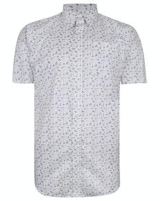 Bigdude Short Sleeve Cotton Woven Cocktails Shirt White