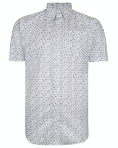 Bigdude Short Sleeve Cotton Woven Cocktails Shirt White Tall