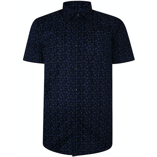 Bigdude Short Sleeve Cotton Woven Cocktails Shirt Navy Tall