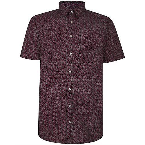 Bigdude Short Sleeve Cotton Woven Floral Shirt Black Tall