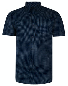 Bigdude Short Sleeve Cotton Woven Square Pattern Shirt Navy/Turquoise