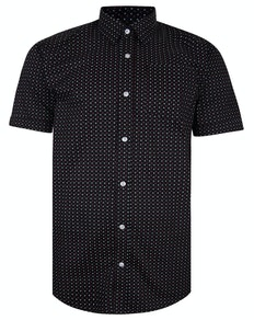 Bigdude Short Sleeve Cotton Woven Asterix Shirt Black Tall