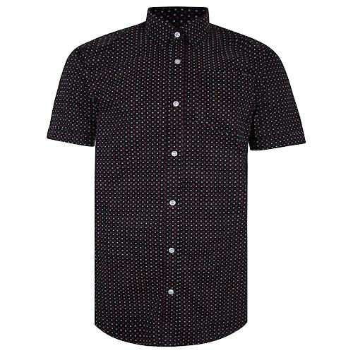 Bigdude Short Sleeve Cotton Woven Asterix Shirt Black Tall