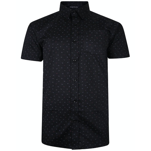 Bigdude Short Sleeve Cotton Woven Anchor Shirt Black