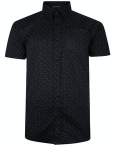 Bigdude Short Sleeve Cotton Woven Anchor Shirt Black Tall