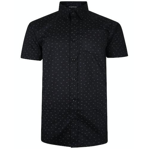 Bigdude Short Sleeve Cotton Woven Anchor Shirt Black Tall