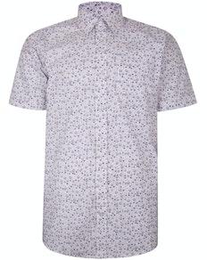 Bigdude Kurzarm Baumwollhemd mit abstraktem Print Weiß