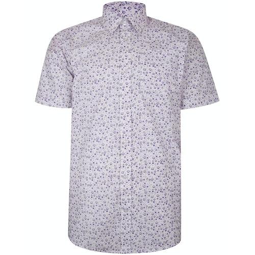 Bigdude Short Sleeve Cotton Woven Abstract Design Shirt White