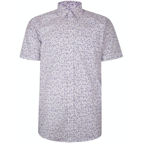 Bigdude Short Sleeve Cotton Woven Abstract Design Shirt White Tall