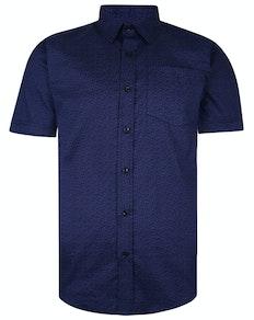 Bigdude Short Sleeve Cotton Woven Pattern Shirt Navy