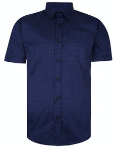 Bigdude Short Sleeve Cotton Woven Pattern Shirt Navy Tall