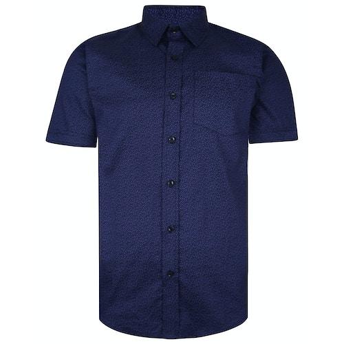 Bigdude Short Sleeve Cotton Woven Pattern Shirt Navy Tall