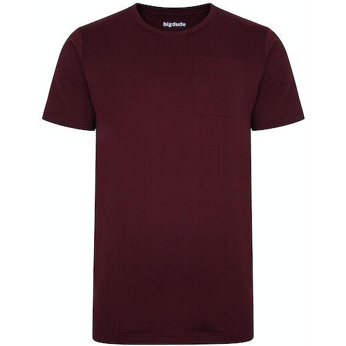 Bigdude T-Shirt mit Brusttasche Weinrot Tall Fit