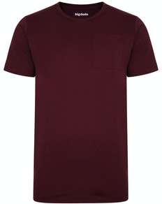 Bigdude Plain Crew Neck T-Shirt With Pocket Burgundy