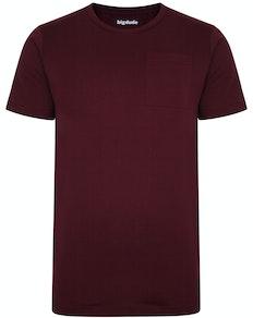 Bigdude T-Shirt mit Brusttasche Weinrot