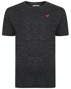 Bigdude Inkjet meliertes T-Shirt Schwarz Tall Fit