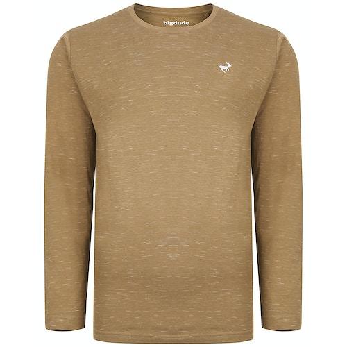 Bigdude Inkjet Marl Long Sleeve T-Shirt Khaki Tall