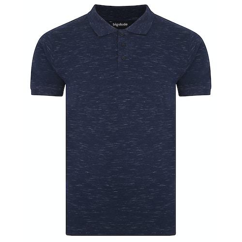 Bigdude Inkjet meliertes Poloshirt Marineblau Tall Fit