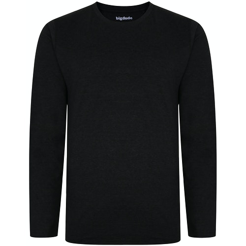 Bigdude Long Sleeve Marl T-Shirt Charcoal Tall