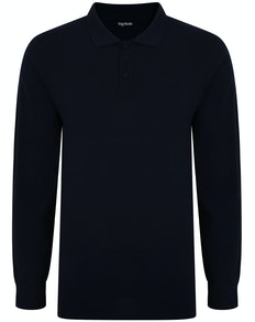 Bigdude Long Sleeve Polo Shirt Navy Tall