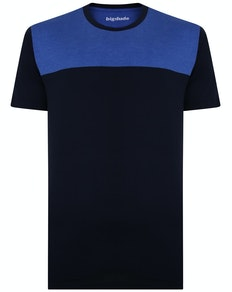 Bigdude Cut & Sew 2 Tone T-Shirt Navy/Royal Blue Tall