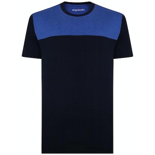 Bigdude Cut & Sew 2 Tone T-Shirt Navy/Royal Blue Tall