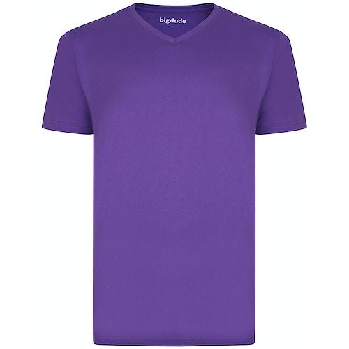 Bigdude Plain V-Neck T-Shirt Purple