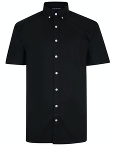 Bigdude Oxford Short Sleeve Shirt Black Tall