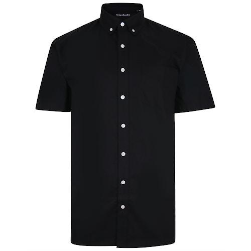 Bigdude Oxford Short Sleeve Shirt Black Tall