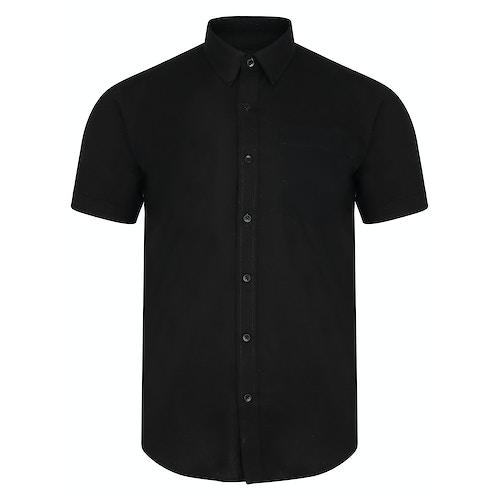 Bigdude Short Sleeve Linen Woven Shirt Black Tall
