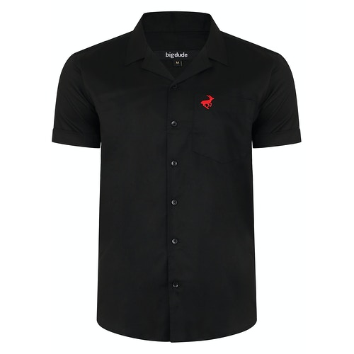 Bigdude Relaxed Collar Short Sleeve Shirt Black Tall