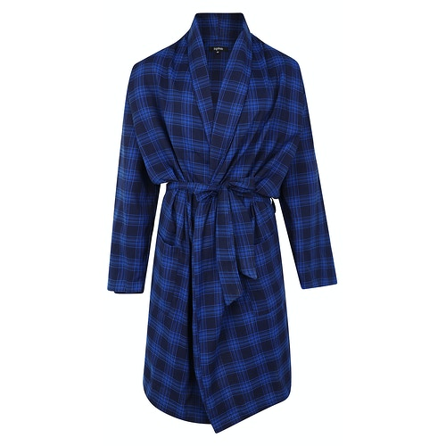 Bigdude Woven Check Dressing Gown Navy/Blue