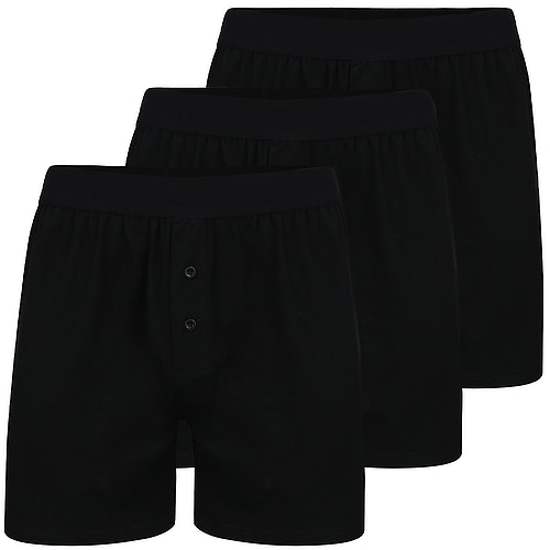 Bigdude 3 Pack Loose Boxer Shorts Black
