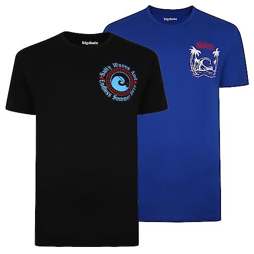 Bigdude Print T-Shirt Twin Pack Royal Blue/Black Tall