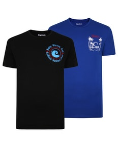 Bigdude Print T-Shirt Twin Pack Royal Blue/Black