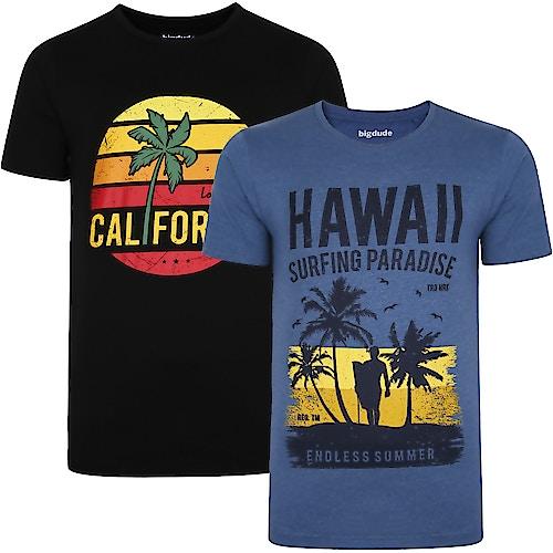 Bigdude Print T-Shirt Twin Pack Black/Denim Tall