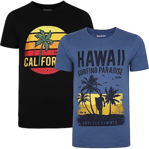 Bigdude Print T-Shirts im Doppelpack Schwarz/Jeansblau