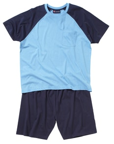 Cotton Valley Shorty Plain Pyjamas Blau