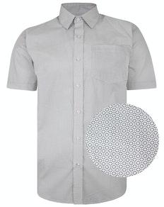 Bigdude Short Sleeve Cotton Woven Abstract Design Shirt White/Back Tall