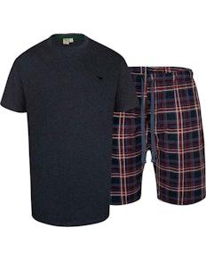 D555 Stanstead T-Shirt/Shorts Check Loungewear Set Denim Marl