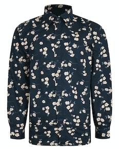 Bigdude Flower Print Long Sleeve Shirt Black Tall