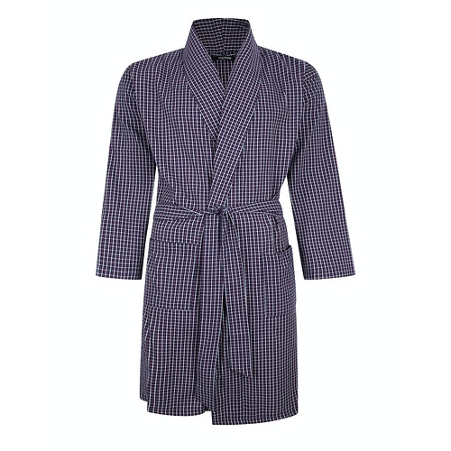 Bigdude Woven Check Dressing Gown Navy